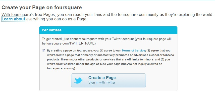 Foursquare brand page self-serve