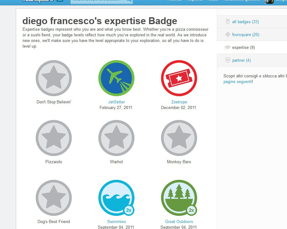 foursquare badge esperienza
