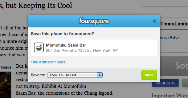 save to foursquare