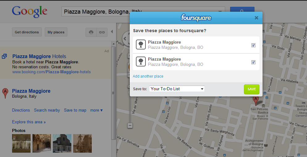 Il bottone di Foursquare su Google Maps