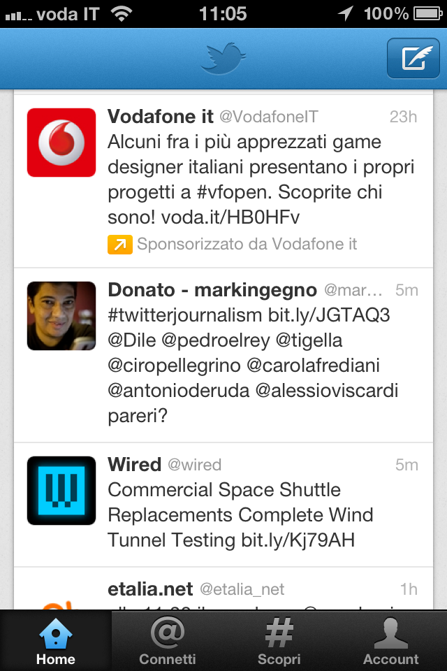 Vodafone promoted tweet twitter mobile