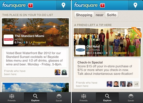 Foursquare Promoted Updates e Promoted Special