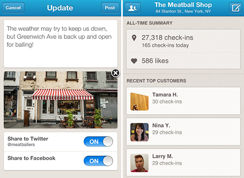 Condivisione dei local update tramite l'app business di Foursquare