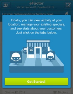Statistiche delle venue disponibili sull'app business di Foursquare