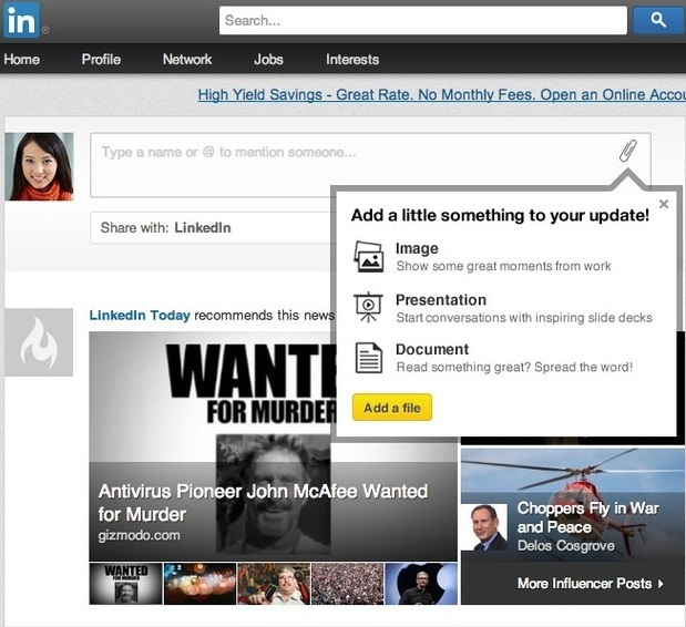 LinkedIn Rich Media Sharing on Homepage
