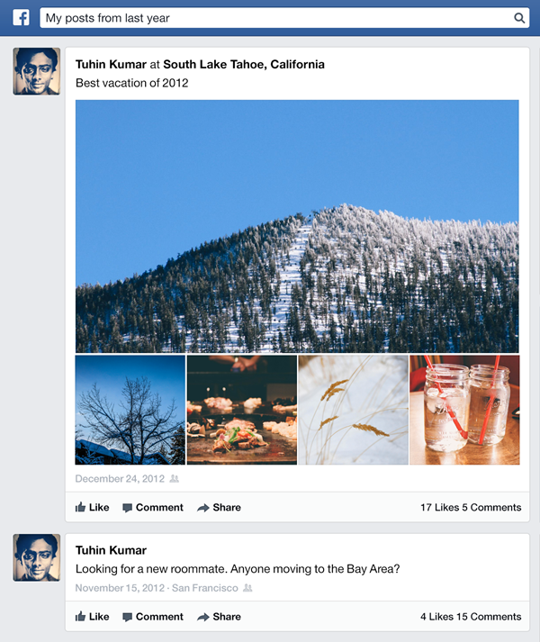 Facebook Graph Search vecchi post