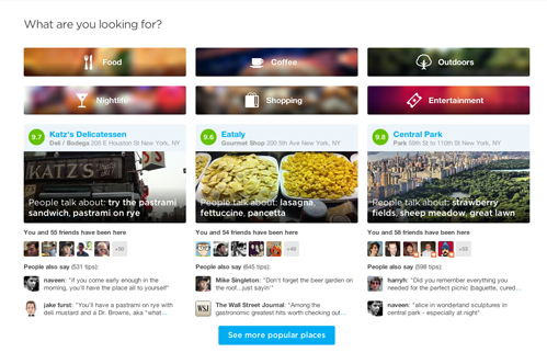 new foursquare homepage