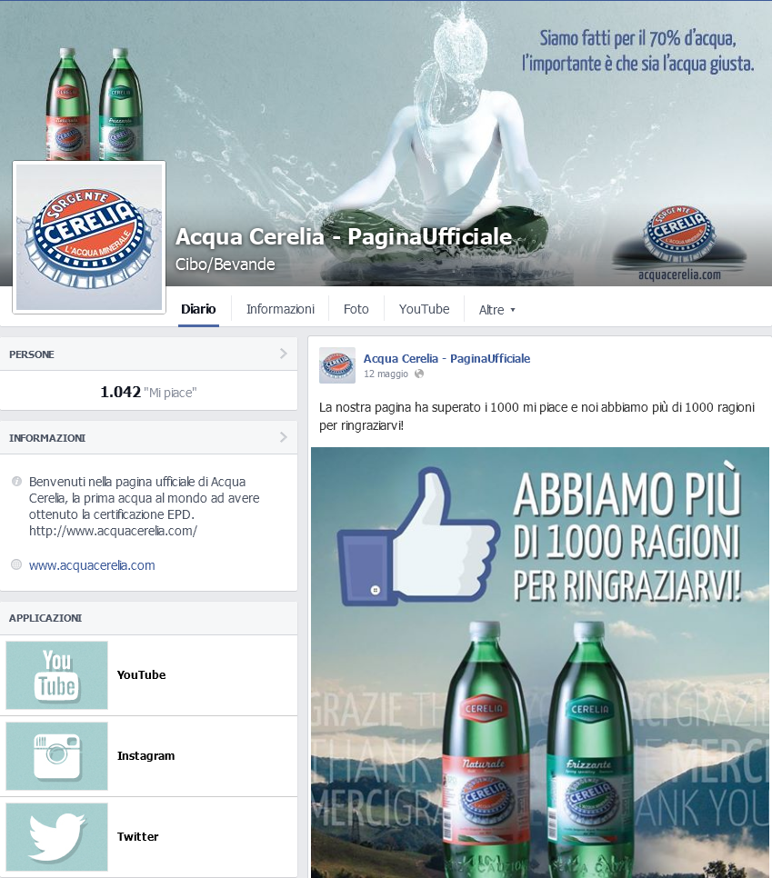 Acqua Cerelia Facebook